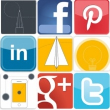 Social media icon collage