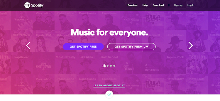 Spotify are a good example of bold colour: